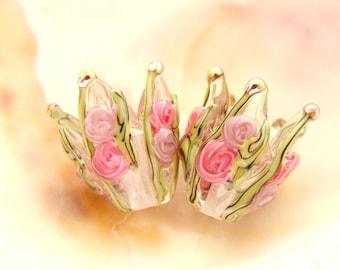 RESERVED - 1 Handmade Lampwork Flower Pair