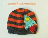 Knit Charcoal and Burnt Orange Beanie with Rocket ship inspired applique,  Made in the USA, boys hats, boys beanies, newborn photography