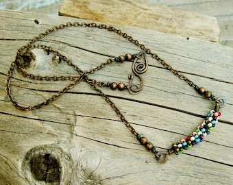 Hammered Copper and Seed Beads colorful wire wrapped necklace
