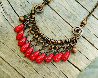 Red Coral and Copper necklace - wire wrapped antiqued copper with red coral bead dangles