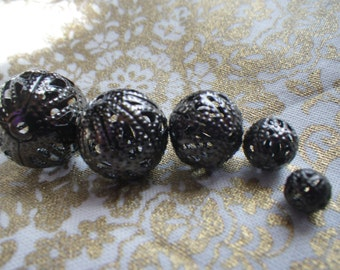 Gunmetal Filigree Spacer Beads Assorted Sizes 14-6mm One Ounce