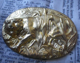 Tiger Stalking the Long Grass Brass Oval 60X45mm 1 Pc