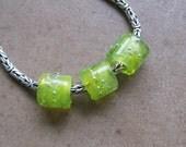 Bracelet Beads - Large Hole Beads - Slider Beads - SueBeads - Wispy Lemon Lime Sparkle Trio - Handmade Lampwork Beads - SRA M67