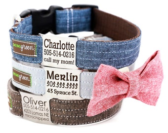Personalized Name Plate Linen Dog Collar with Optional Bow Tie