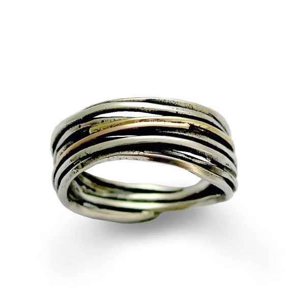 Silver wedding ring, sterling silver ring, wrapped band, rose and yellow gold ring, silver band, mixed metal ring - Live the dream R1512G