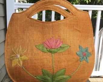 Vintage floral Abaca Hemp tote beach bag purse