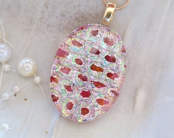 Dichroic Fused Glass Pendant, Glass Jewelry, Pink, Necklace Included, One of a Kind, A2