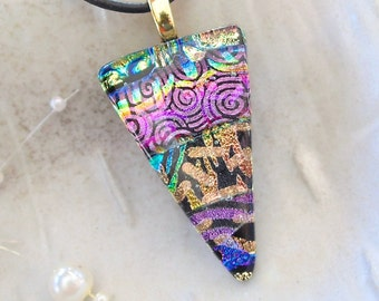 Dichroic Glass Pendant, Fused Glass Jewelry, Pink, Gold, Necklace Included, One of a Kind, A8