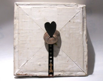 Follow Your Heart - Heart Art - Valentine Art - Original Mixed Media Assemblage - Architectural Salvage Wood Collage - Heart Wall Art