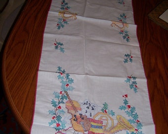 Hand Embroidered Table Runner or Dresser Scarf
