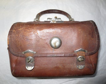 Antique Nurses Bag - Drugs and Medical Bag - Doctors Small Satchel - Vintage 1880s Carriage carry On Luggage Leather Bag