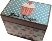 Recipe Box, Decoupaged, Grey Chevron and Pink Cupcake Personalized, Bridal Shower, Wedding Card Box, Large Handcrafted Box MADE TO ORDER