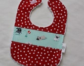 Pugs and Polka Dots Chenille Boutique Bib