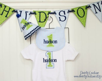 Boys First Birthday Party Hat, Bib, Shirt, and Banner - Blue, green, and navy - Includes a 4 piece banner