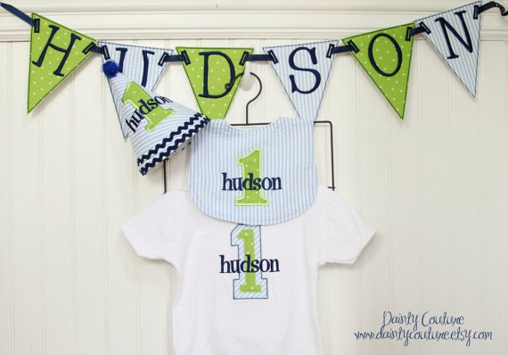 Boys First Birthday Party Hat Bib Shirt And Banner