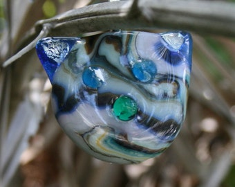 "FUNKY FELINE ""Frank"" Fused Glass Pendant -- Art Glass By YM"