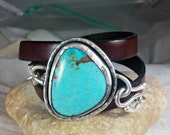 RESERVED FOR H Turquoise Bracelet, American Turquoise Cuff Bracelet, Stone  and silver wrap bracelet, leather and turquoise stone bracelet