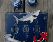 Kids Switch Plate Cover SHARKS - hand Painted Wood