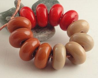 Handmade Lampwork Glass Beads, lampwork bead set, jewelry supplies, lampwork spacer bead, artist lampwork, 12 beads, Chamois