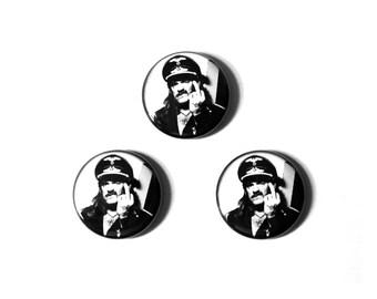 "LEMMY 1"" Pin Back Button, Motorhead Pinback Button, Middle Finger"