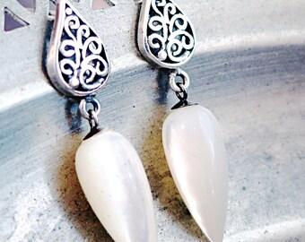Teardrop earrings, Mother of Pearl, Sterling Silver, gemstone drops, filigree studs