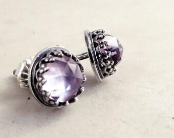 Amethyst stud earrings, Sterling Silver, lavender gemstones, Birthstone jewelry