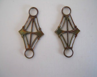 Vintage Industrial Brass Pair Findings Connectors