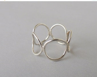 On Sale Sterling Silver Circle Ring, Modern Silver Ring