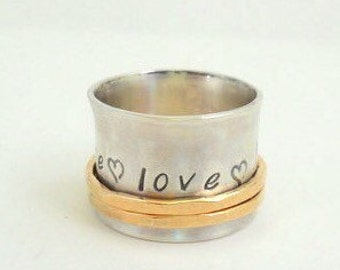 Sterling Personalized Spinner Ring  Fiddle Ring Stamped Jewelry - SR104