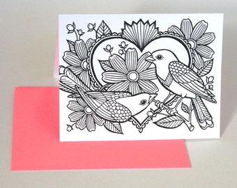 COLORING birds, a color-your-own love note