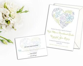 Floral Heart Wedding Invitation Set, Heart Wedding Invites, Whimsical Wedding Invitations, Wedding response cards, Colorful Heart, Fun Heart