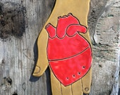 Heart in Hand Ceramic Wall Hanging (Tan)