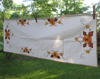 Vintage Table Runner - Brown and Gold Floral Applique/ Embroidery