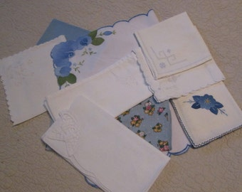 Vintage Table Linens - Placemat/ Napkins - Blue and White Assortment