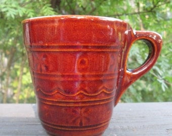 Four Vintage Marcrest Stoneware Coffee Mugs - Brown Daisy Dot