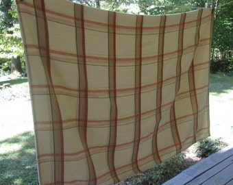"""Vintage Plaid Damask Tablecloth - Beige Rust Olive Cotton Cloth - 40"""" by 56"""" - Fall Dining"""