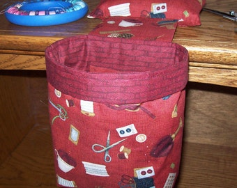 Thread Catcher, Scrap Caddy, Scrap Bag, Pin Cushion With Rubberized Gripper Strip - Sewing Notions
