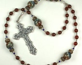 Anglican Ecumenical Rosary Prayer Beads in Ruby Red and Silver