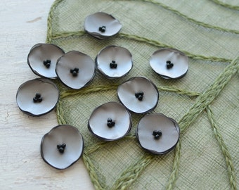 Small handmade fabric sew on flower appliques, fabric flowers for crafts, mini satin poppies, wholesale flowers (10pcs)- GRAY POPPIES