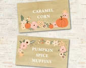 Pumpkin buffet cards, fall party, peach and coral pumpkin buffet or printable place cards, editable file