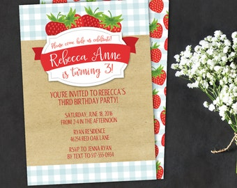 Strawberry birthday party invitation, picnic birthday party invitation with Strawberries, strawberries and gingham