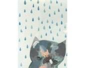 cat painting- blue rain