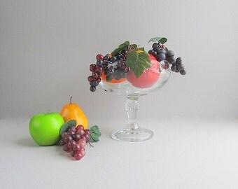 Large Vintage Bowl, Pedestal Bowl, Footed Clear Glass Bowl, Fruit Bowl, Stemmed Bowl