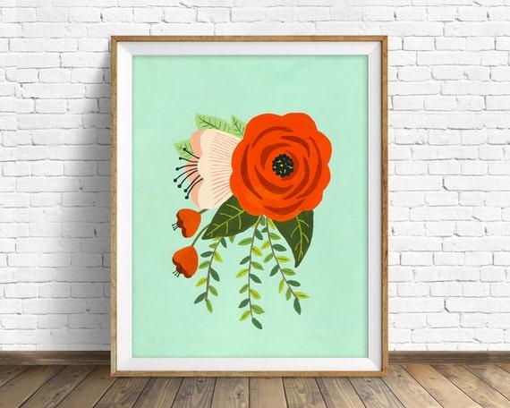 Folk Art Flowers No. 2 - flowers, botanical, art print, large art, large wall art, hand painted flowers, wall art, farmhouse wall art, print