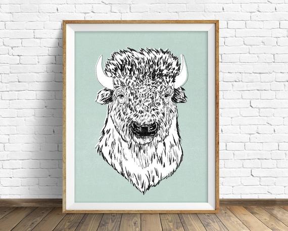 "drawing, bison, buffalo, wall art, large art, large wall art, woodland animals, fine art print, modern, contemporary, art -""American Bison"""