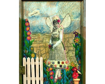 SALE - GARDEN ANGEL fantasy assemblage 3D mixed media collage shadow box altered art original