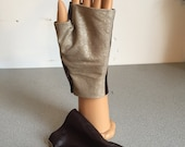 Short brown/gold leather Gloves