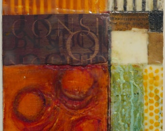 Mixed-media encaustic art.