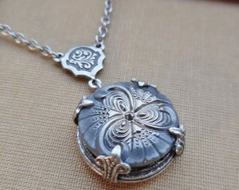Vintage Glass Button Necklace-SilverBouqet - Designs by Timeless Trinkets
