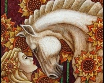 ART PRINT on Silk Roman Goddess Epona Protector of HORSES - embellish or applique and add to Crazy Quilts Home Decor Collage Fiber Arts